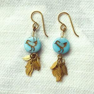 Jewelry - Bird and Feather Dangle Earrings